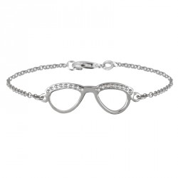 Silver Glasses Bracelet Binocles