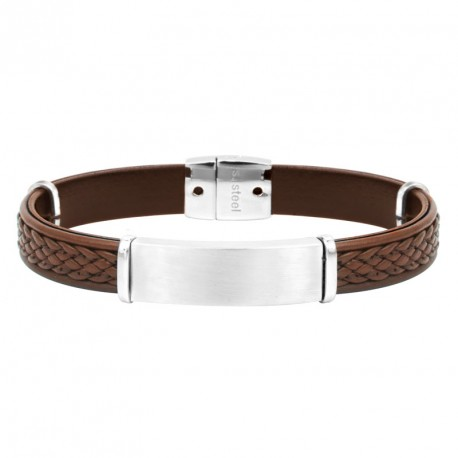 Steel and leather bracelet with plaque Everyday