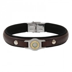 Brown Leather and Bullet Bracelet - Bang Bang