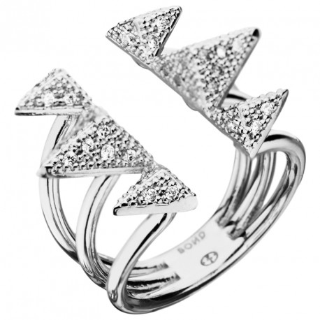 Zirconia Triangles Silver Ring Rebel