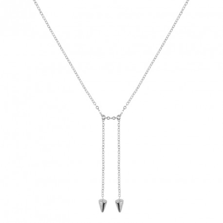 Double Studs Silver Necklace Rebel