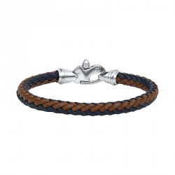 STEEL AND BRAIDED LEATHER BRACELET