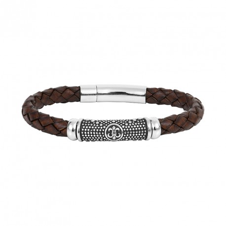 BRACELET STEEL AND LEATHER BRAID FLOWER OF LYS