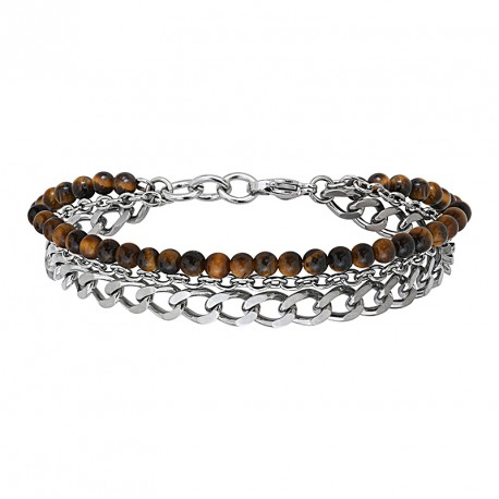 Steel and natural stones bracelet