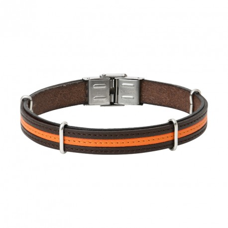 Leather and steel bracelet LUIS