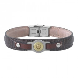 shark-print steel and leather bracelet with bullet -Bang Bang