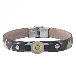 Camo steel and leather bracelet with bullet -Bang Bang