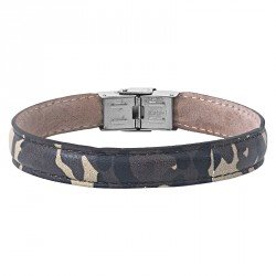 PRINTED-CAMO STEEL AND LEATHER BRACELET