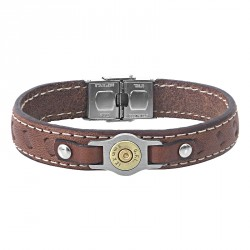 steel and leather bracelet with bullet -Bang Bang