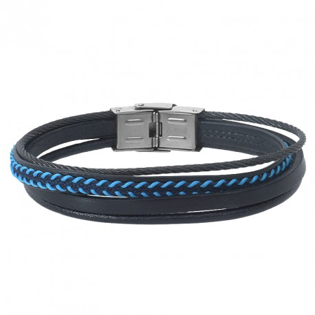 STEEL AND LEATHER BRACELET RAUL