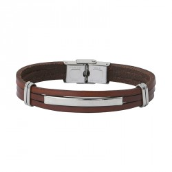 Steel and leather bracelet JEFF