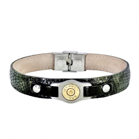 STEEL AND CROCO STYLE LEATHER BRACELET BANG BANG
