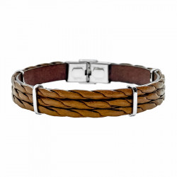 Steel and twisted leather bracelet François