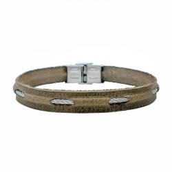 Steel cable and leather bracelet Nicolas