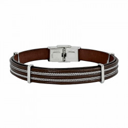 Steel and leather bracelet Pete