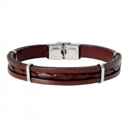 Leather and steel bracelet Alexis