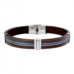 STEEL AND LEATHER BRACELET AUGUSTE