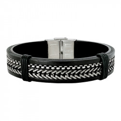 STEEL AND LEATHER BRACELET OZZY