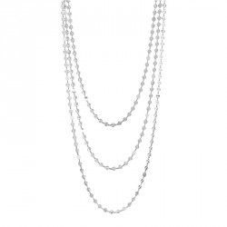 3 Strands Silver Long Necklace Moonlight