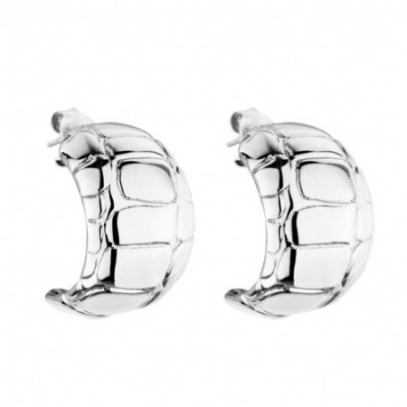 Silver Croco Large Hoop Earrings