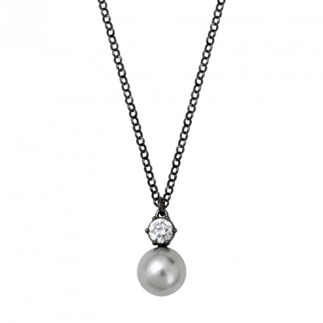 Pearl and Zirconia Silver Necklace OZ