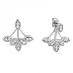 Tribal Zirconia Silver Flower Earrings OZ