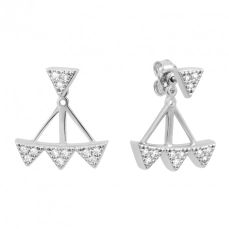 Tribal Triangle Silver Earrongs Rebel