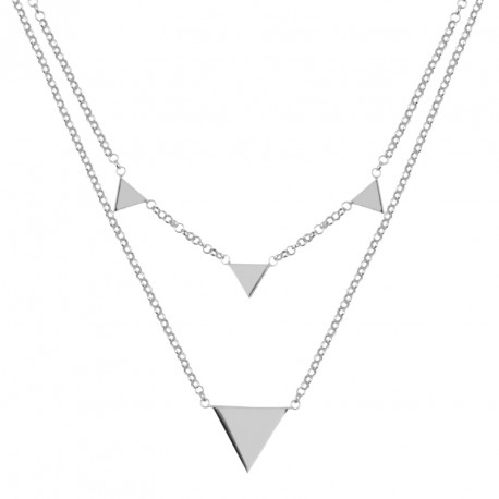 Collier Argent Double rang Triangles Rebel Yell