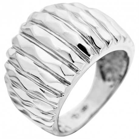 Ribbed Silver Ring Rebel