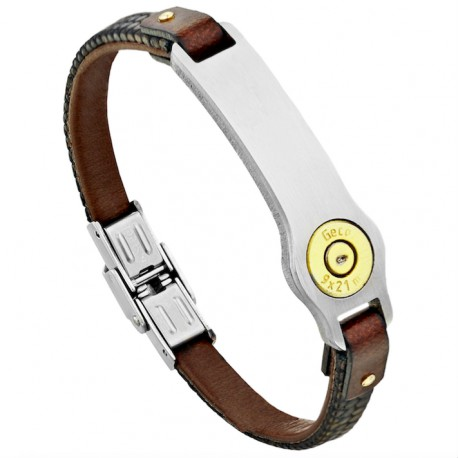 Plaque, Leather and Steel Bracelet GM - Bang Bang