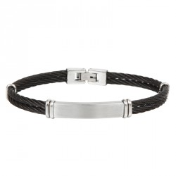 Steel cable bracelet with plaque Everyday