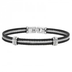 Bicolor steel cable bracelet 3 stds Everyday