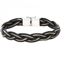 Braided cable steel and leather bracelet Everyday