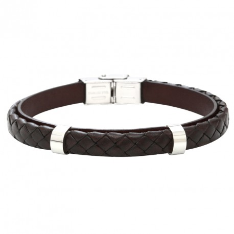 Steel and color braided leather bracelet Everyday