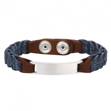 Steel and printed leather bracelet Everyday