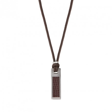 Collier cordon et plaque imprimée acier-Everyday in the mix
